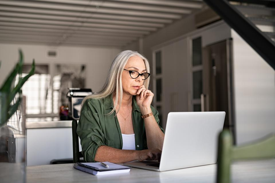 older woman work from home