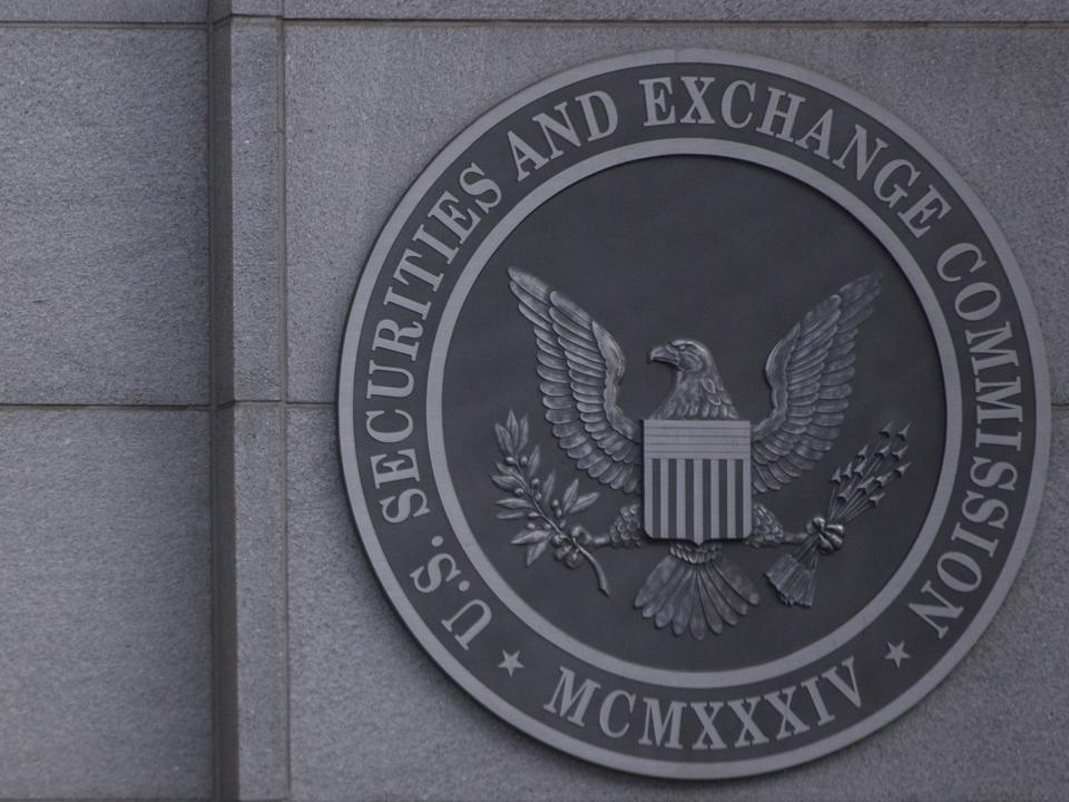 Signage is displayed outside the U.S. Securities and Exchange Commission (SEC)