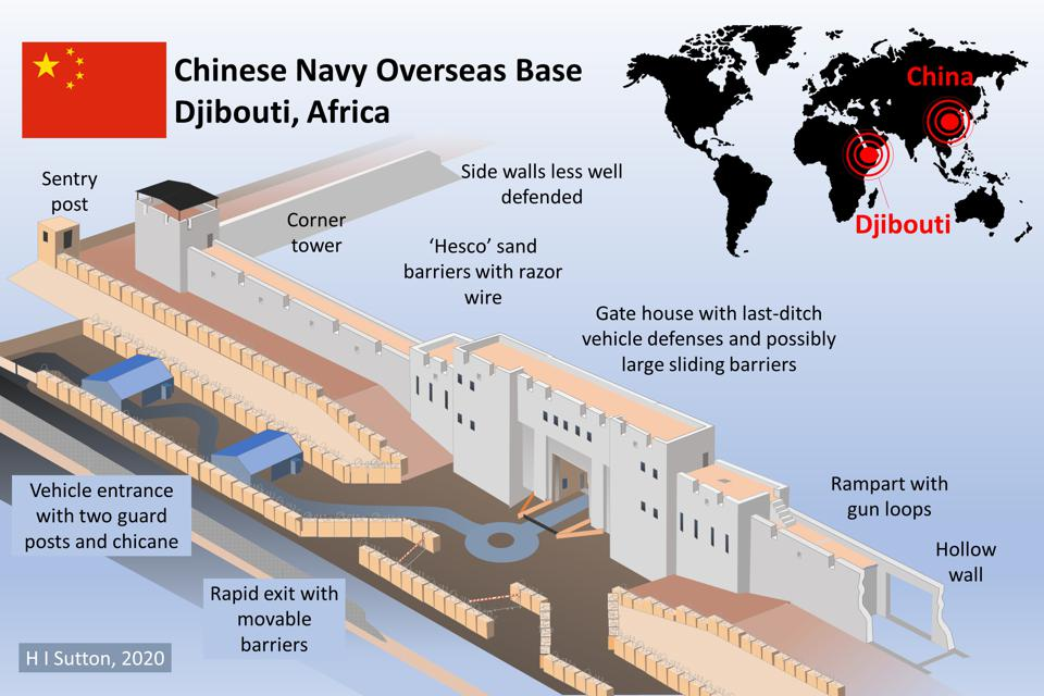 Diagram of Chinese Navy (PLAN) fortifications at the overseas Base in Djibouti
