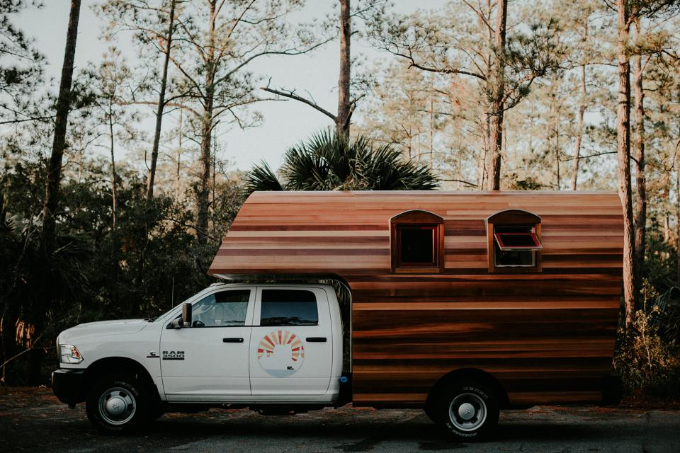 Outdoor Wooden Truck Campers during a road trip.