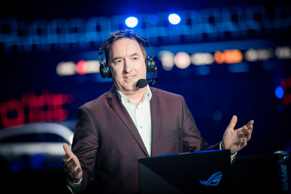 Paul 'Redeye' Chaloner hosts the ESL One broadcast.