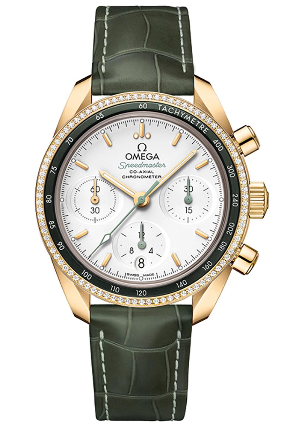 The Omega Speedmaster 38 in 18k yellow gold with 90 diamonds set into the outer bezel.