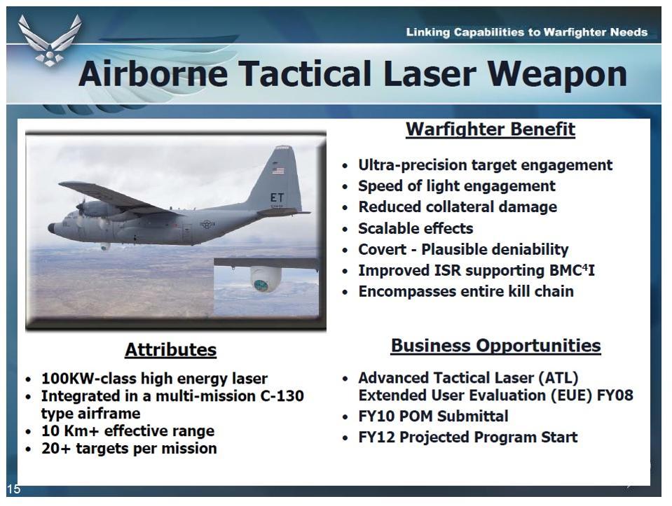 Presentation slide on Airborne Tactival laser Weapon