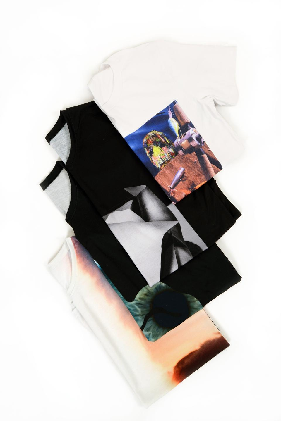 A collection of artist limited edition t-shirts
