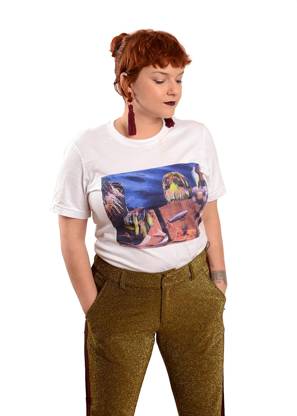 A girl wearing an artist t-shirt
