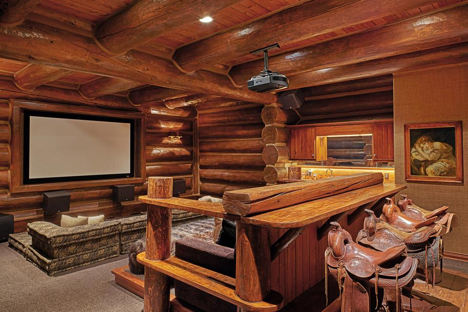 The ranch is ideal for entertaining. The western-style home theater is seen here.