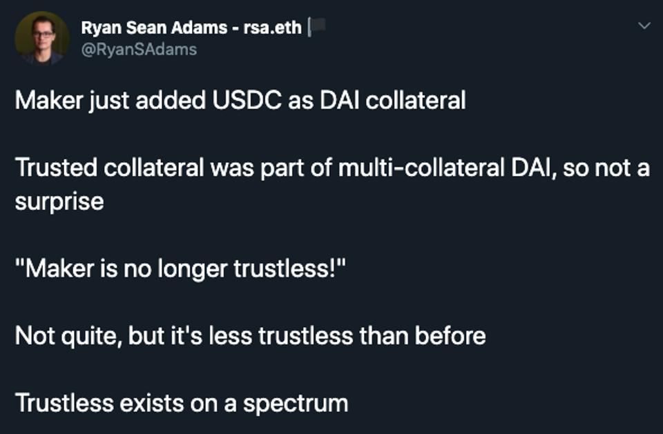 Ethereum advocates criticize MakerDAO's inclusion of centralized tokens WBTC and USDC.