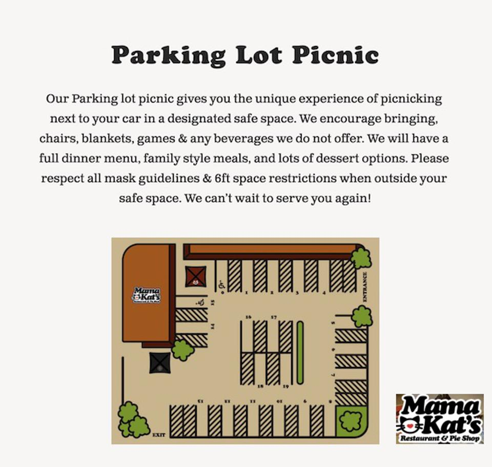 Parking Lot Picnic map from Mama Kat's restaurant