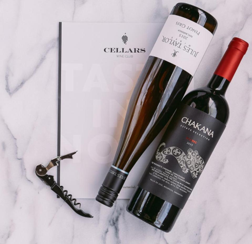 Cellars Wine Club, wine bottles, corkscrew