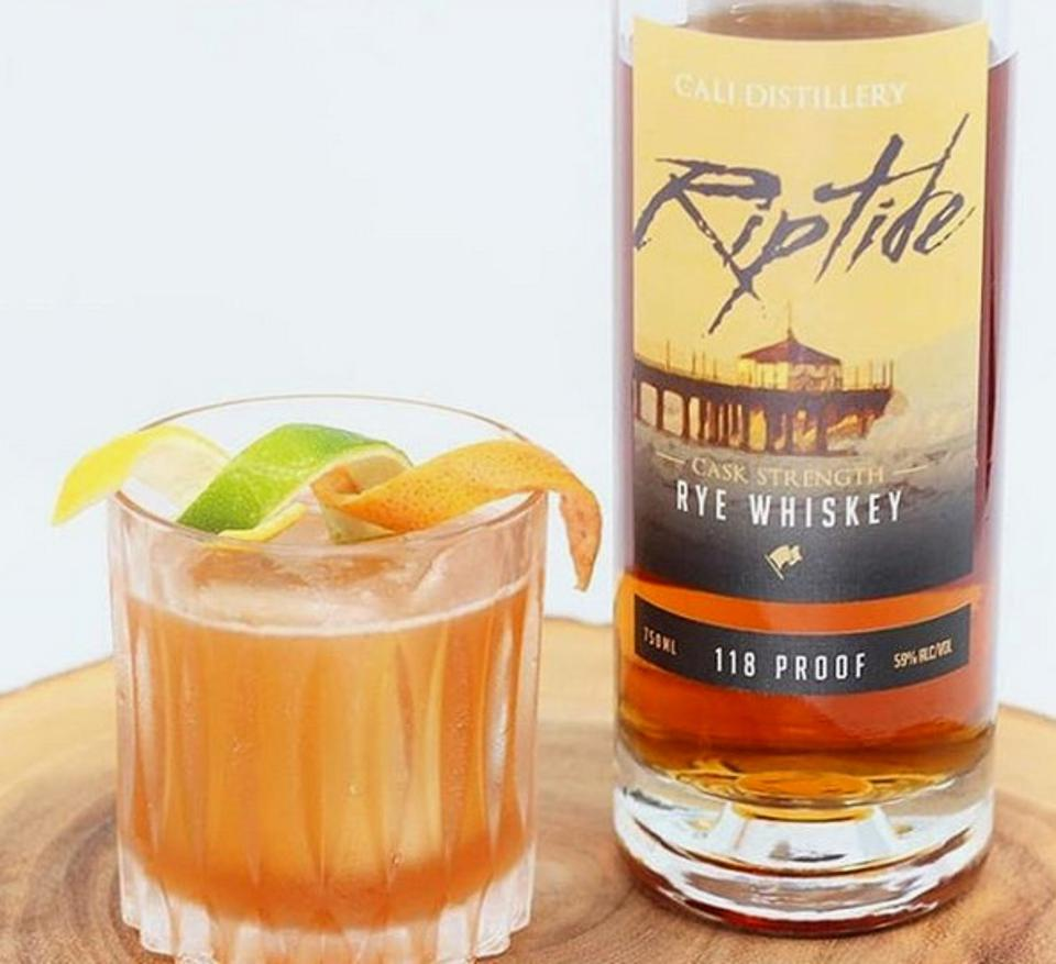 Riptide whiskey with cocktail in glass.