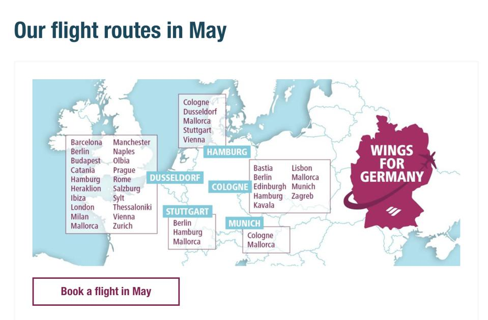 Eurowings flight route map europe airlines fly again post lockdown travel bans
