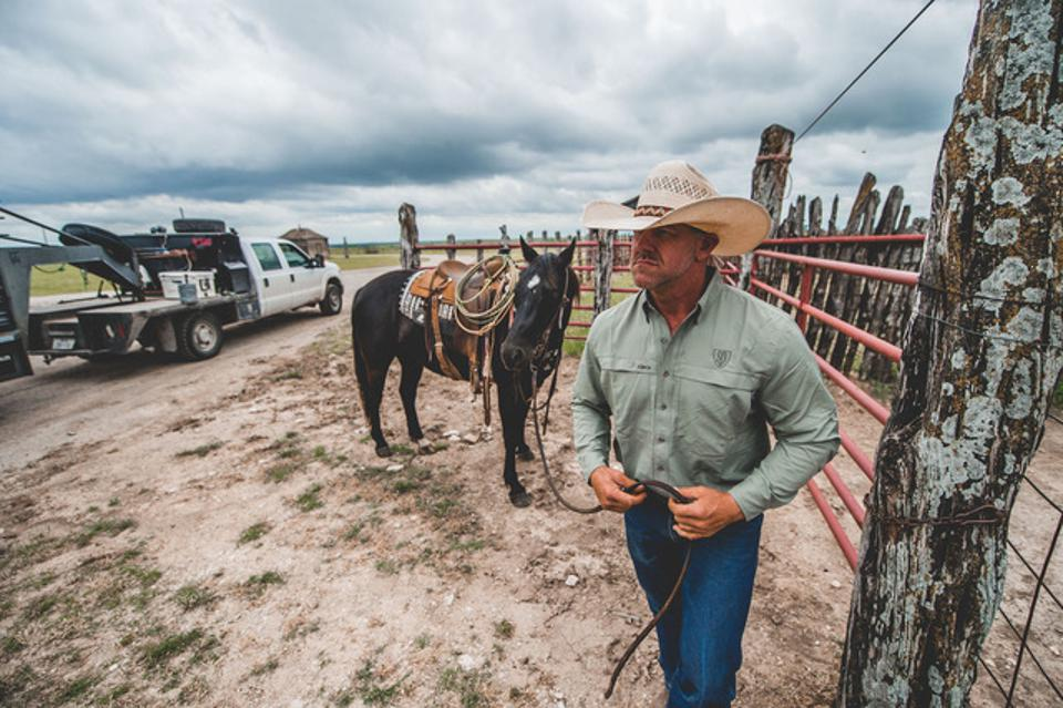 Buster Frierson getting ready to load his horse and load bulls from the pasture.