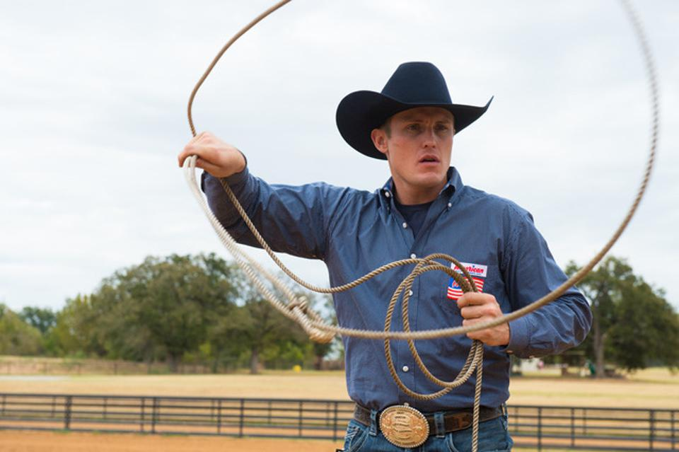 World champion cowboy, Tuf Cooper practicing his swing.