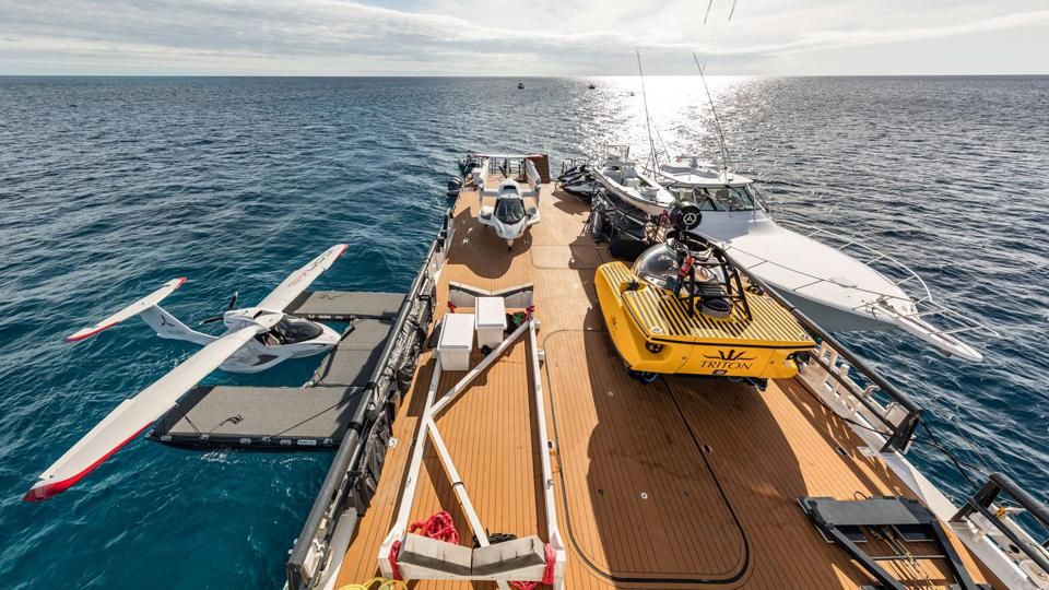 Carl Allen has two fixed wing planes, a personal submarine and numerous fishing boats and other watercraft on board his Damen Yacht Support vessel Axis.