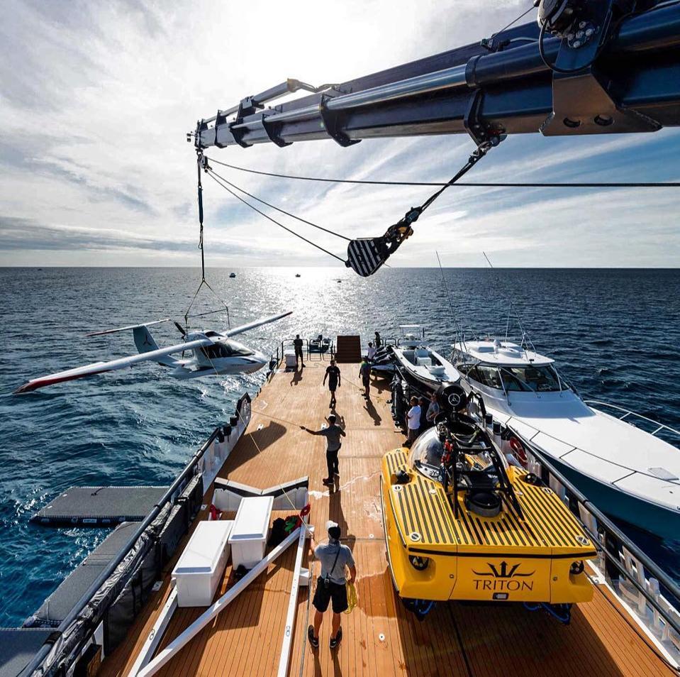 The heavy crane in operation onboars Carl Allen's Damen Support Vessel Axis.