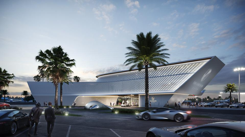 A digital rendering of the Concours Club event center, designed by Pininfarina.