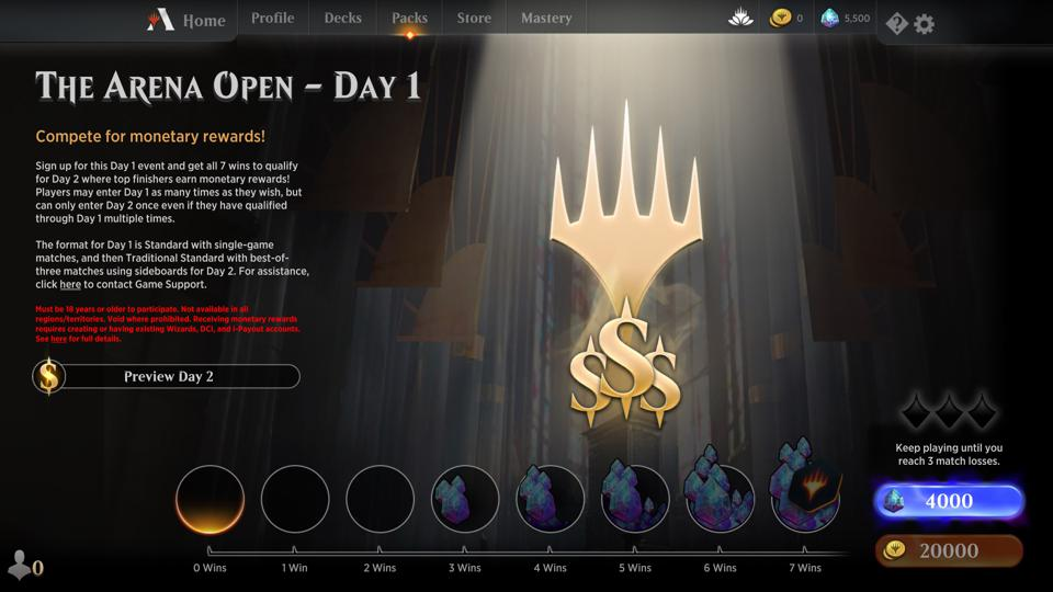 The Arena Open will be open to all players on March 30.