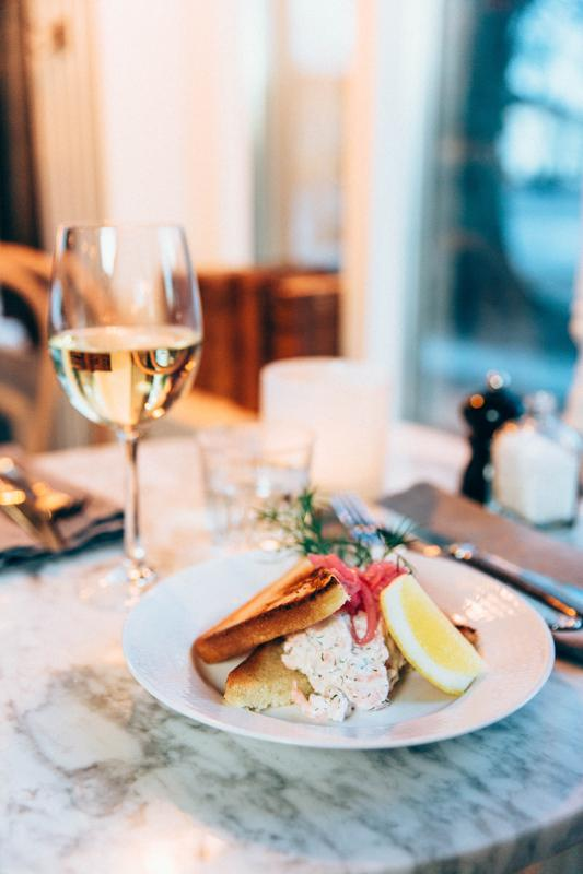 toast skagen or shrimp sandwich at Lidköping Stadshotellet in Sweden