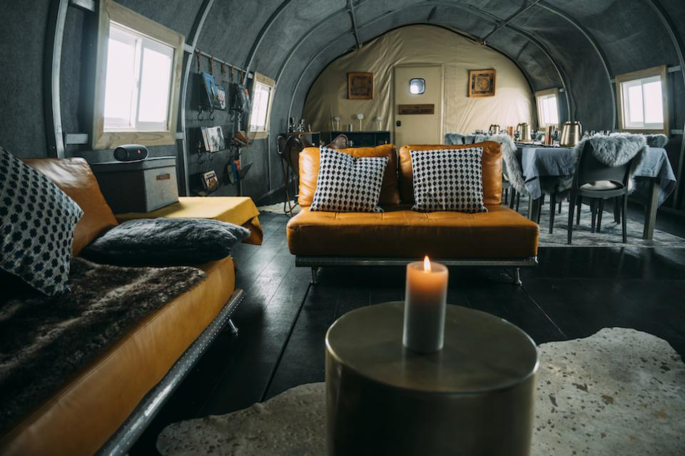 lounge and dining in Antarctica pod