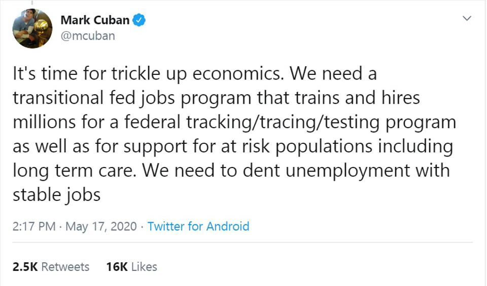 Mark Cuban economy and jobs and unemployment