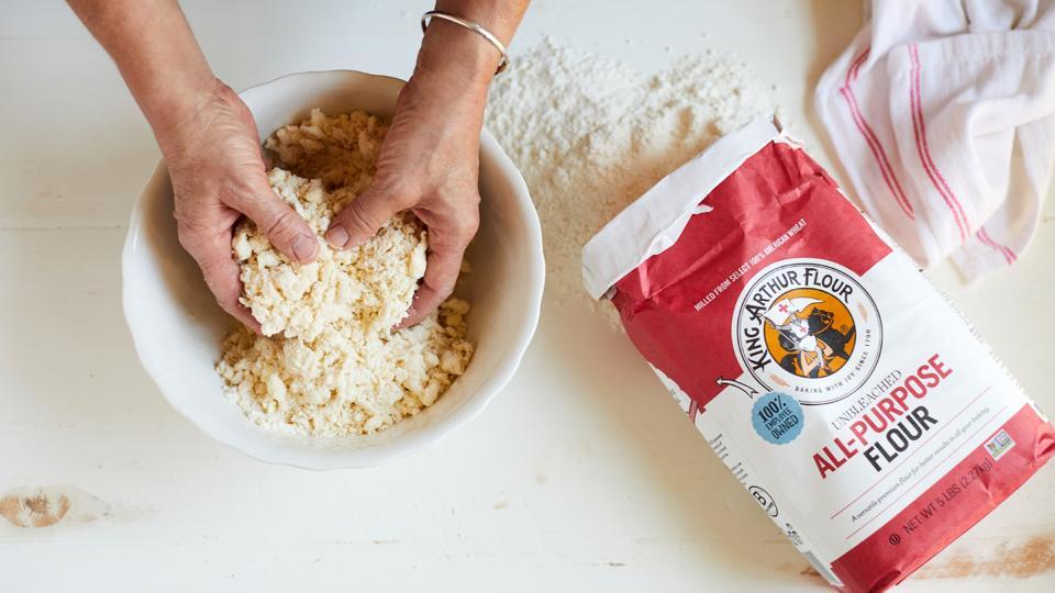 photo of kneading flour