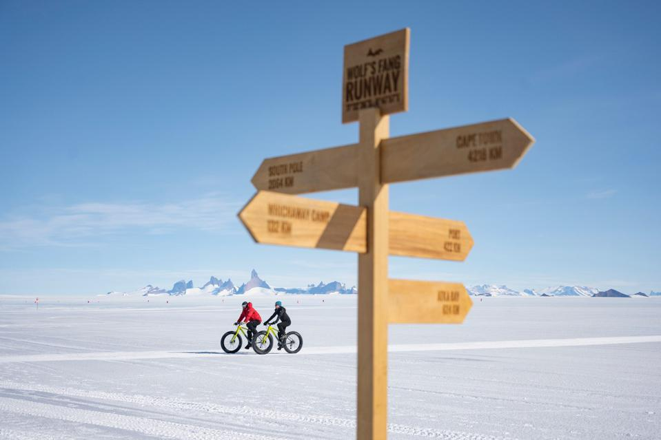 two cyclists in Antarctica