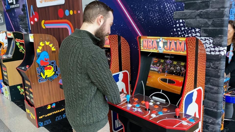 NBA Jam machine exhibited at New York Toy Fair