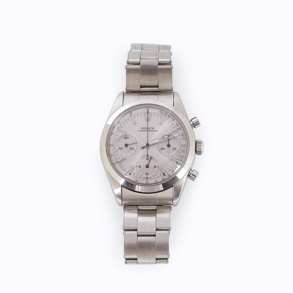 Rolex stainless steel chronograph with an estimate of $20,000 - $30,000