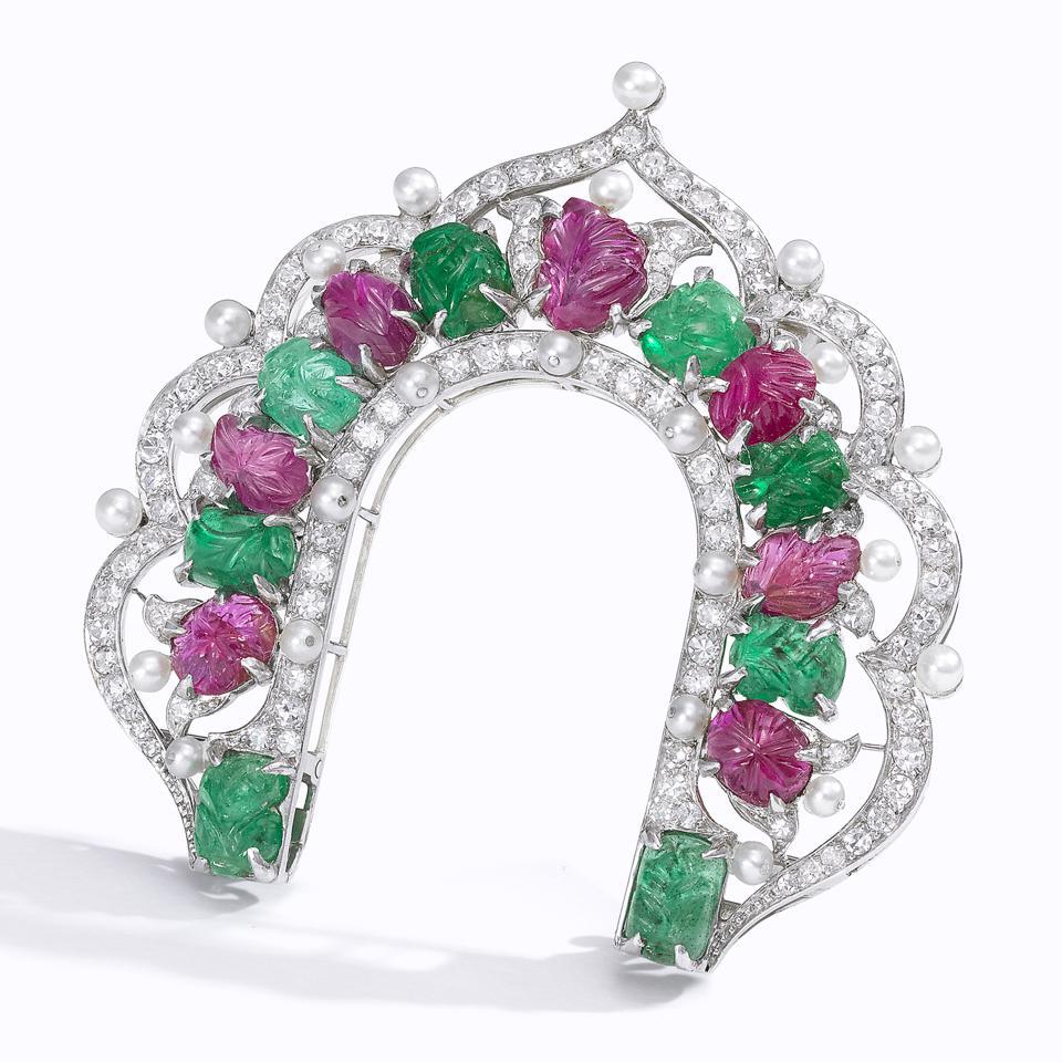 """Art Deco """"Tutti Frutti"""" ruby, emerald, diamond, and seed pearl clip brooch"""