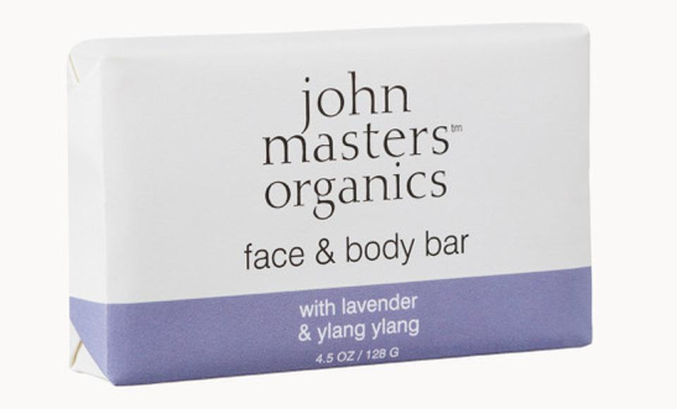 soap bar in white and purple packaging