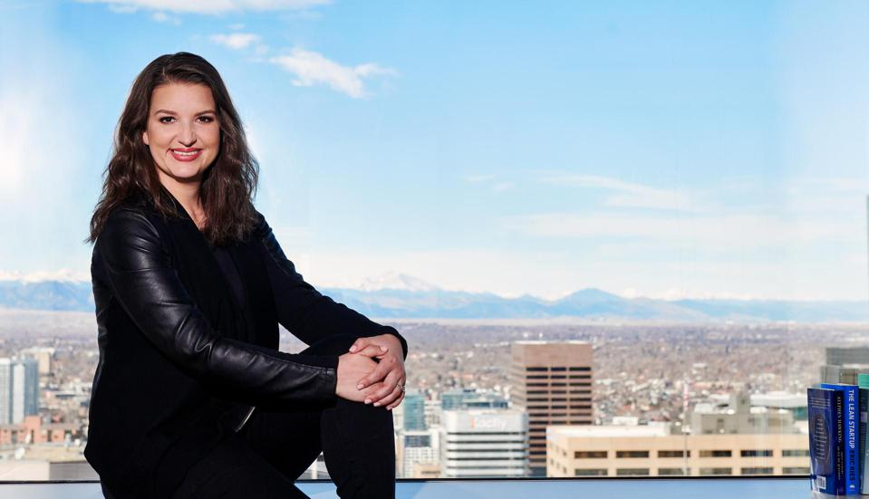 Guild Education's CEO Rachel Carlson photographed at the company's Denver headquarters.