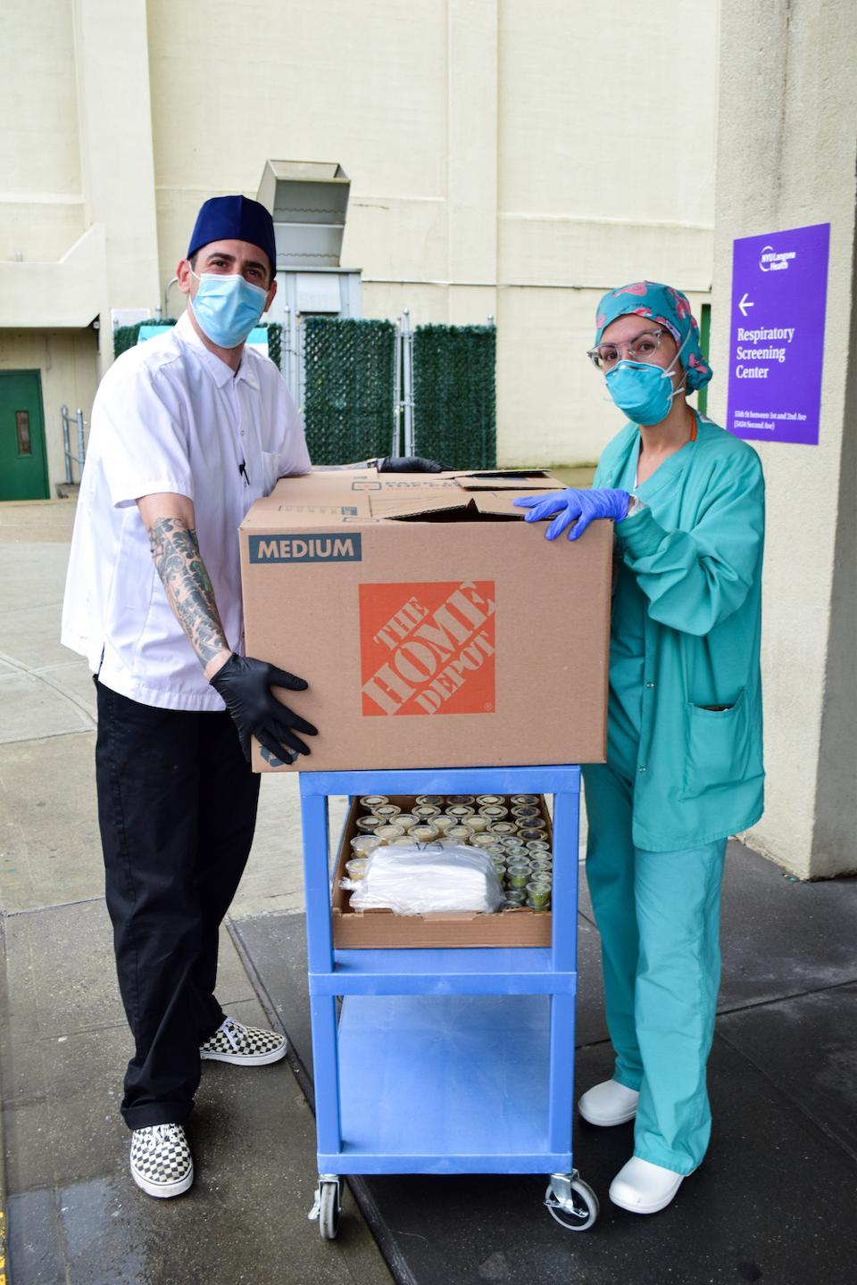 A delivery of sushi boxes for NYC hospital workers.