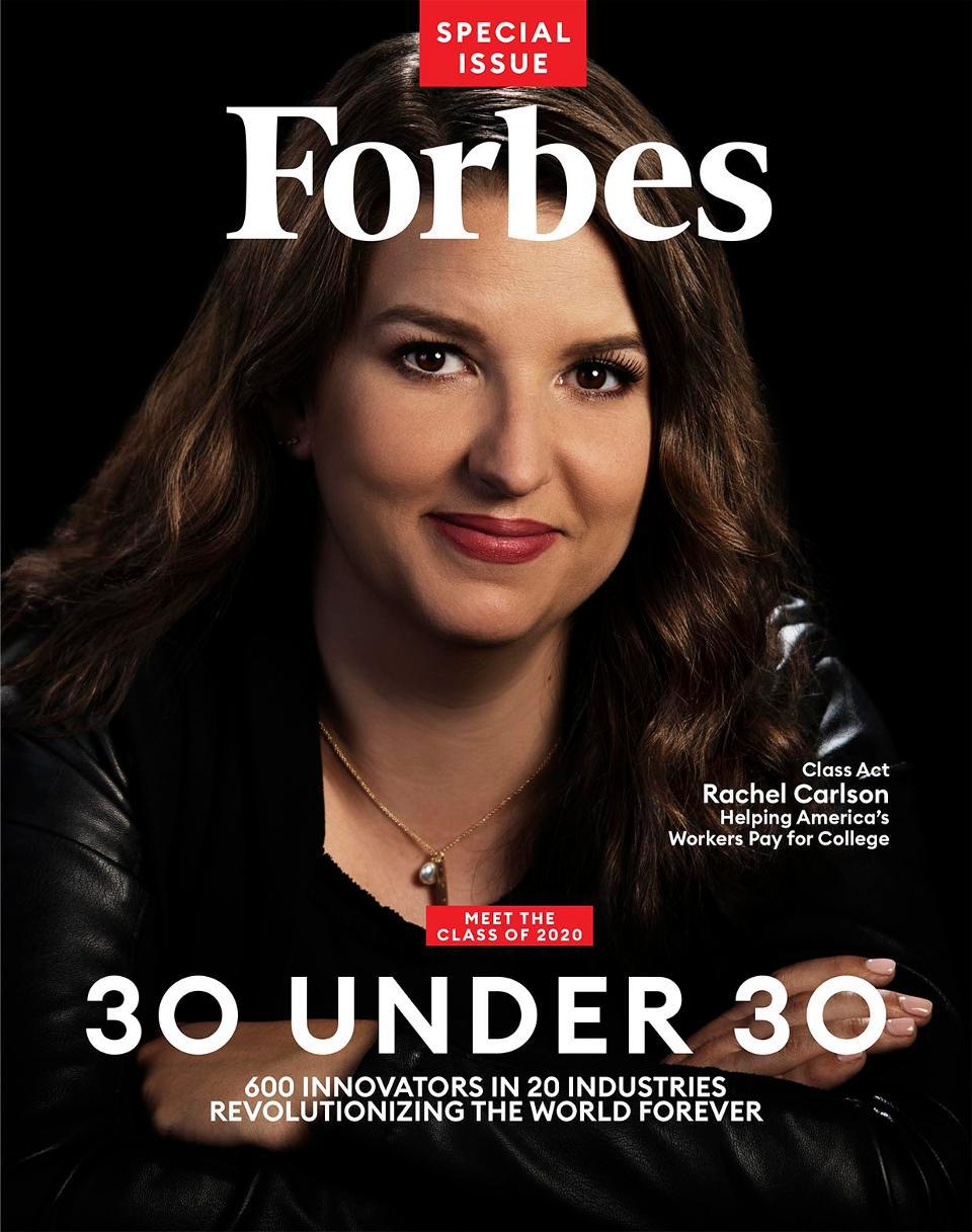 Forbes Under 30 magazine cover featuring Rachel Carlson