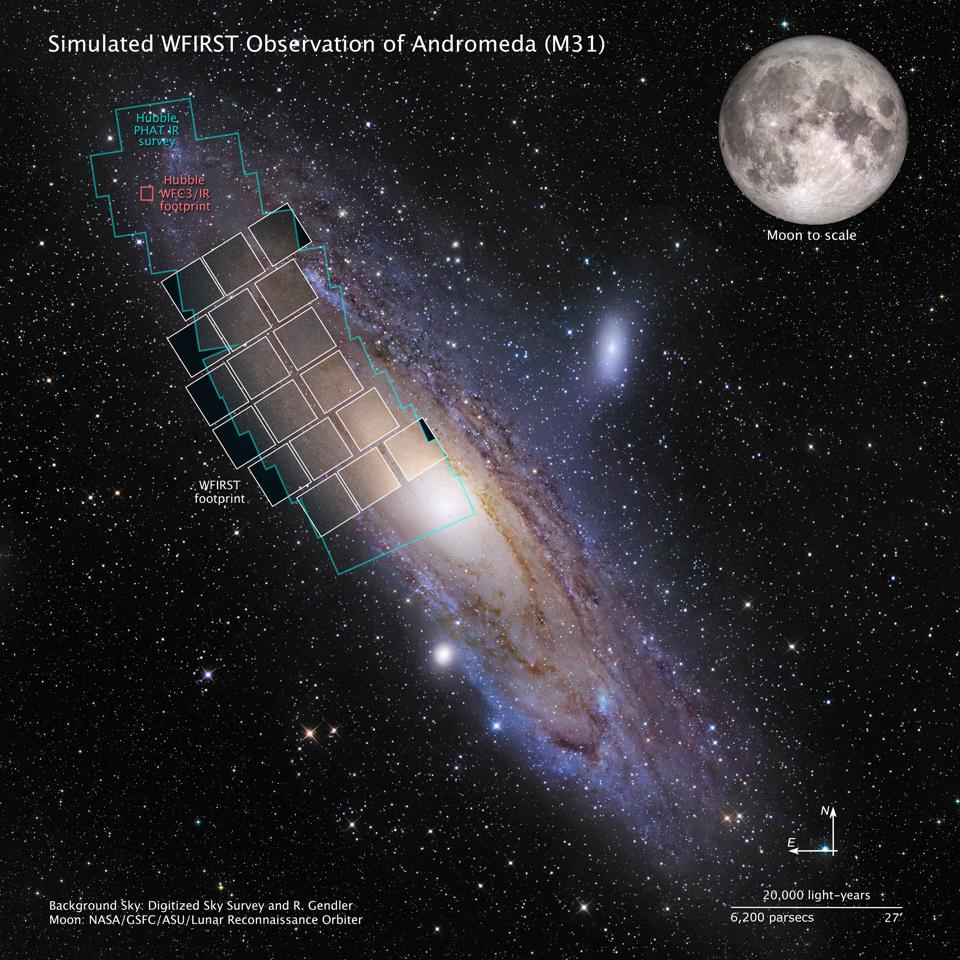This graphic shows a simulation of a WFIRST observation of M31, also known as the Andromeda galaxy. Hubble used more than 650 hours to image areas outlined in blue. Using WFIRST, covering the entire galaxy would take only three hours.
