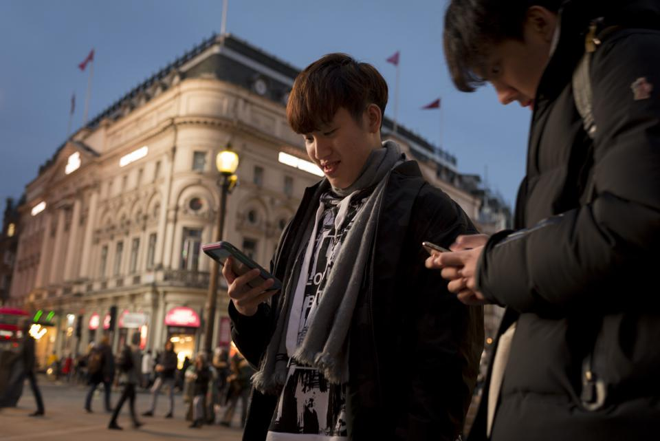 Piccadilly Circus Phone Users