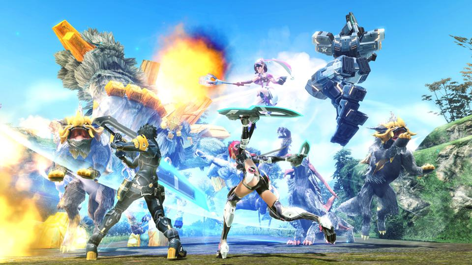 Players battling in Phantasy Star Online 2.
