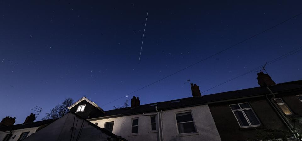 The ISS crossing Cardiff, Wales.