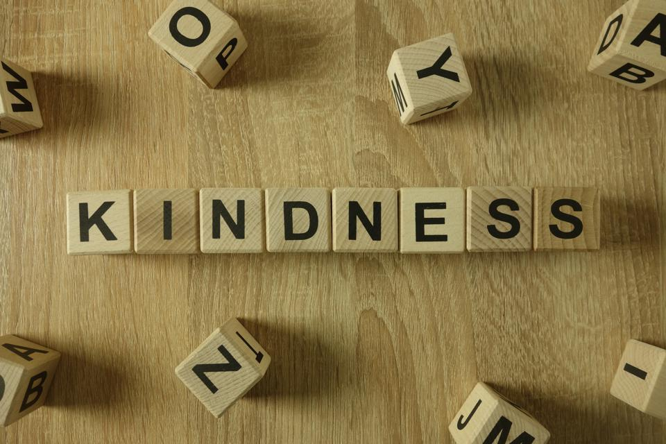 The word kindness written out in wooden blocks