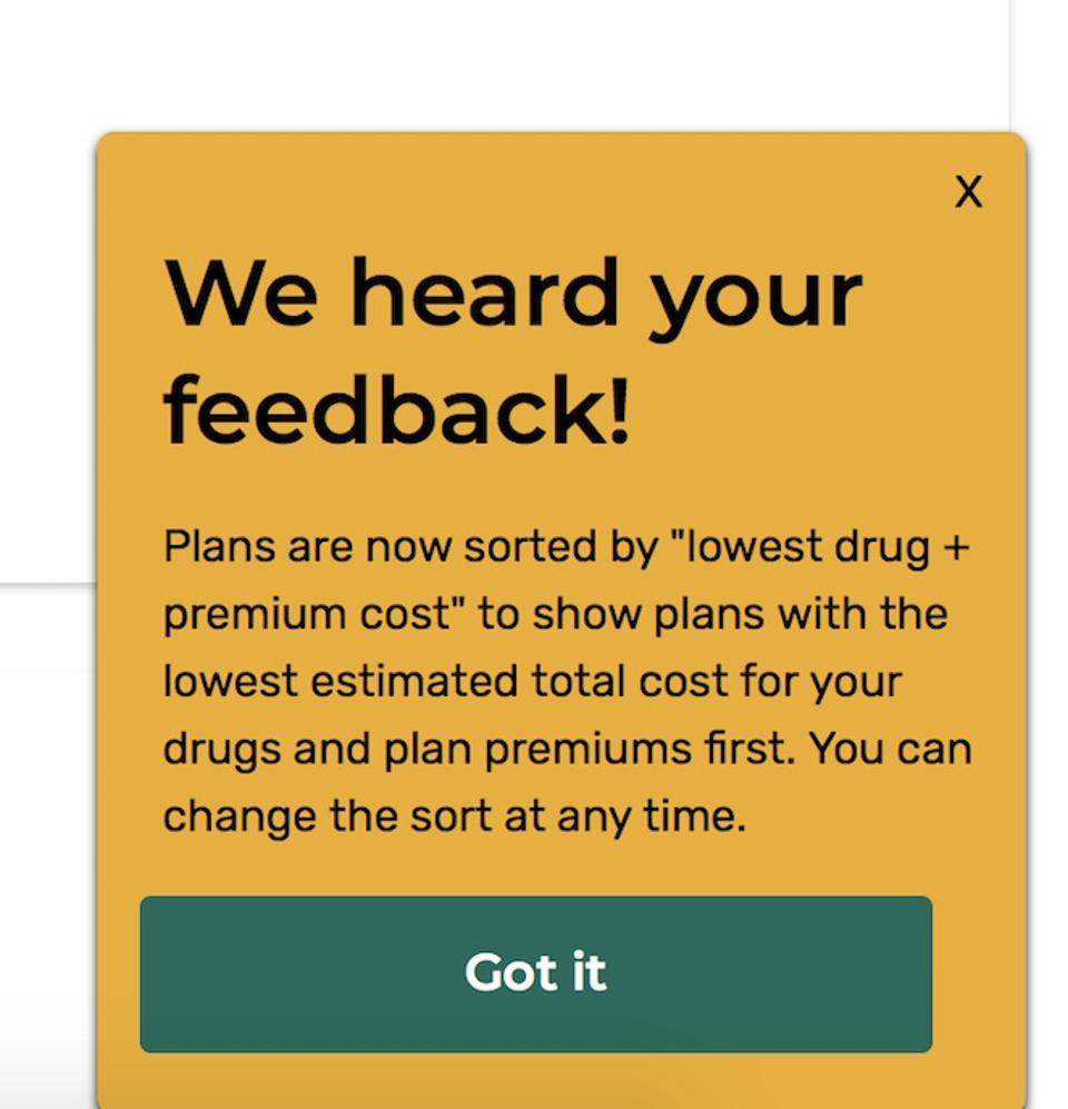 Screen capture of dialog box from new Medicare plan finder.