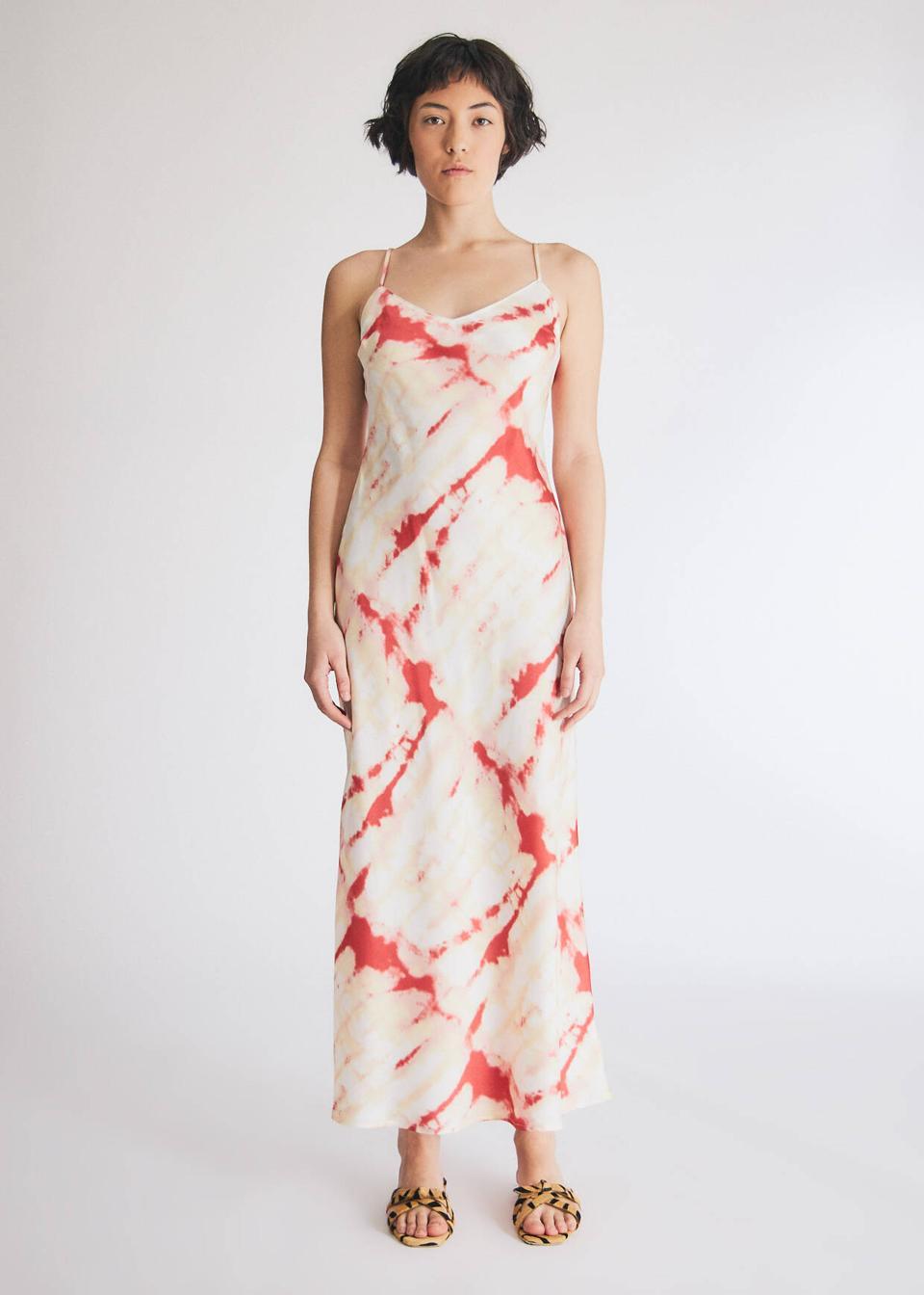 WHICH WE WANT Samiyah Slip Dress in Cream Tie Dye