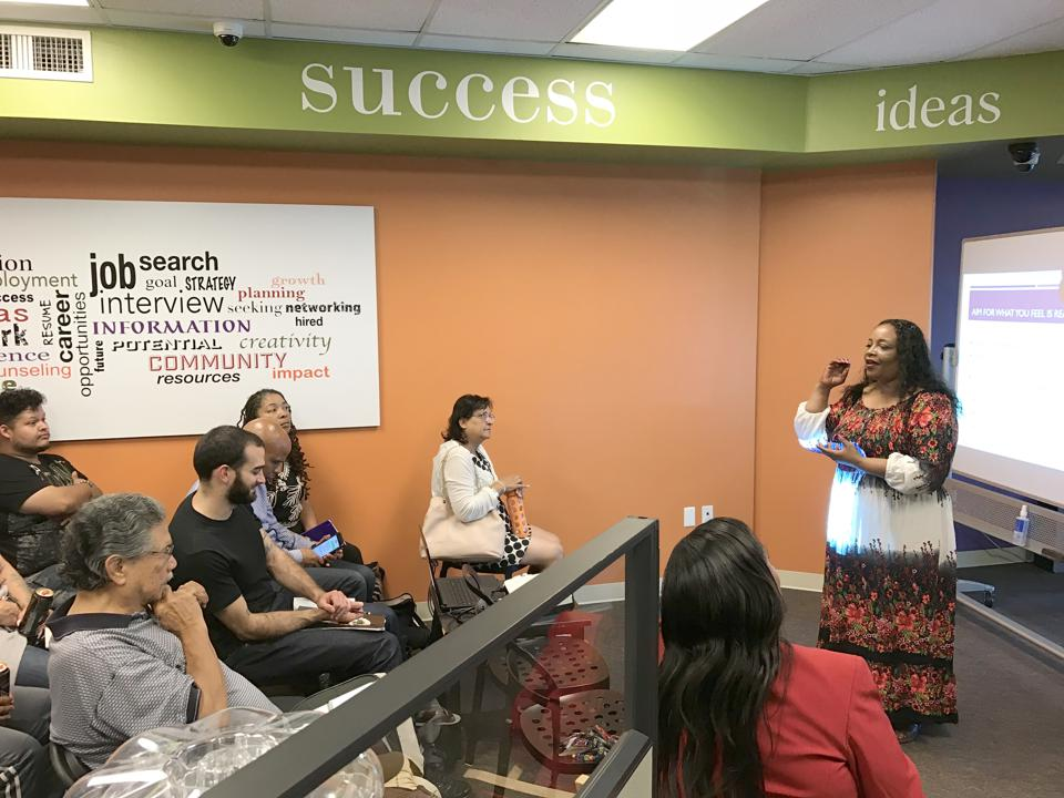 Angela White teaches a workshop at Success Centers