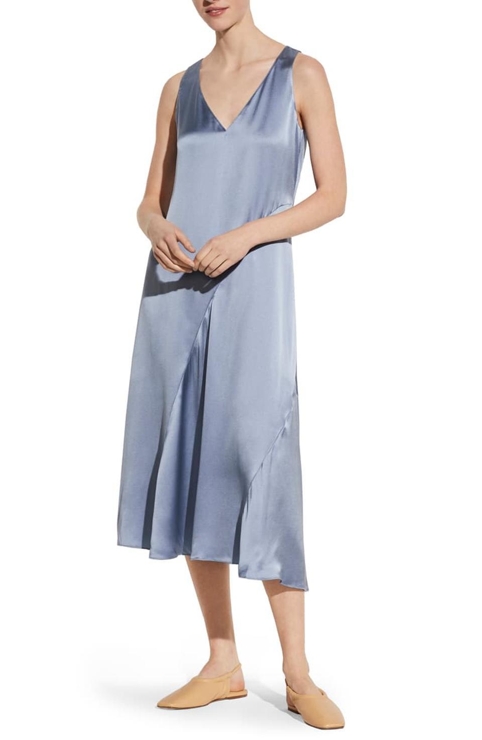 Seamed V-Neck Silk Sleeveless Dress