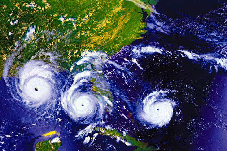 three hurricanes approaching the US