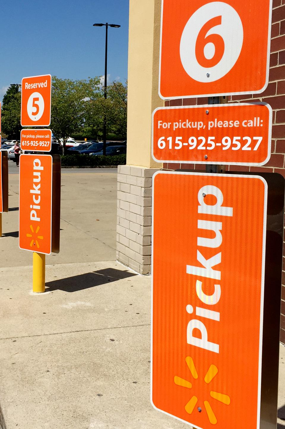 Walmart has allocated designated parking spaces for online groc