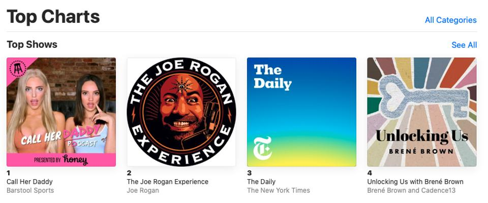 Top ranked podcasts on Apple Podcasts, including the Joe Rogan Experience.