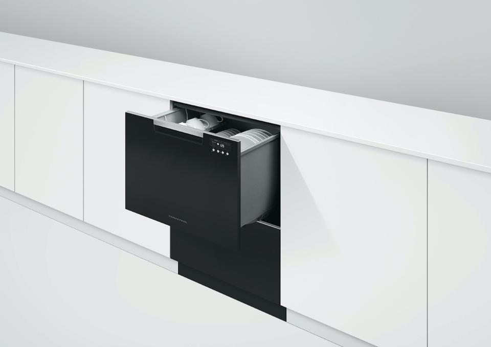 A double dishwasher drawer holding 14 place settings from Fisher & Paykel