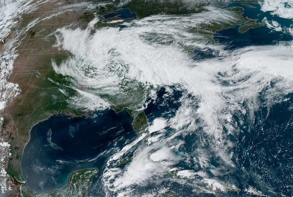 A visible satellite image of the cutoff low over the eastern U.S. on May 19, 2020.