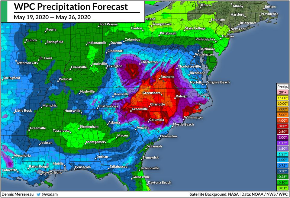 The Weather Prediction Center's rainfall forecast through May 26, 2020.