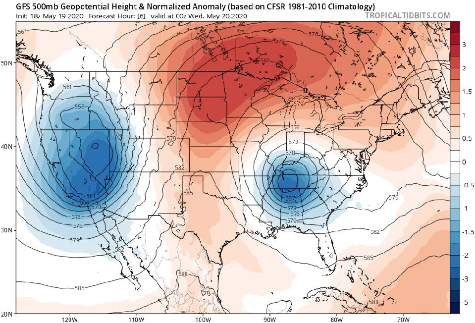 A model image showing the cutoff low over the eastern U.S. on May 19, 2020.