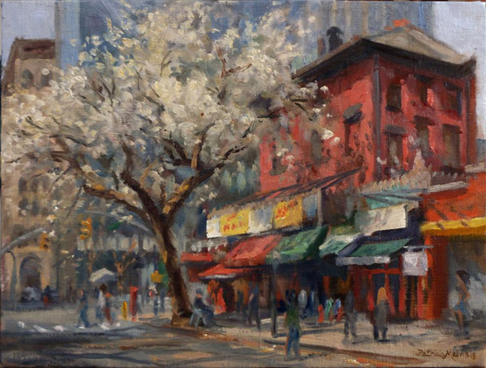An oil on linen painting of Third Ave shops by Patricia Melvin